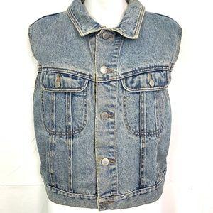 GAP Denim VINTAGE Jean Jacket Vest Button Down  L